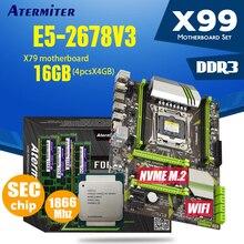 Atermiter x99 d3 conjunto de placa mãe, com xeon e5 2678 v3 LGA2011 3 cpu 4pçs x 4gb = 16gb memória ddr3 de 1866mhz