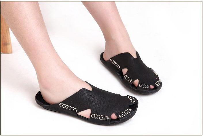 Women Sandals 100 Authentic Leather Gladiator Sandals Women Summer Shoes Beach Slides Ladies Shoes in Low Heels from Shoes