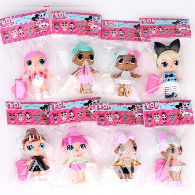 8PCS Surprise LOL Dolls Original Packaging With Label Bag High Quality Action Figure Model Surprise Dolls Sets 8~9CM