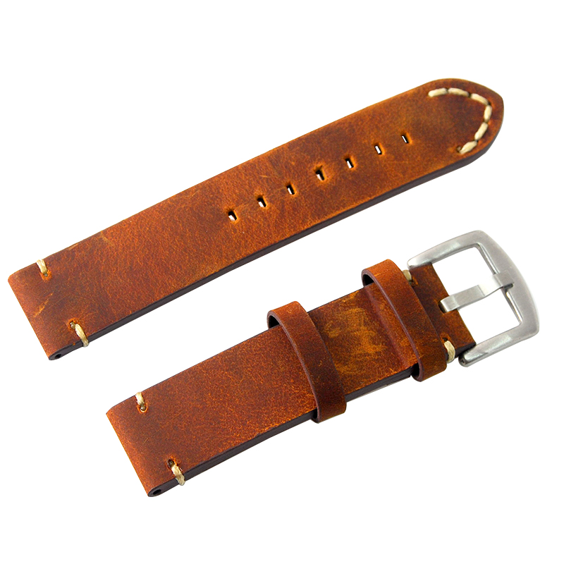 Handmade Vintage Crazy Horse Skin 18mm 20mm 22mm 24mm Leather Watch Band Straps WatchBands