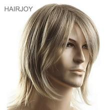 HAIRJOY – perruque synthétique mi-longue pour homme, postiche Cosplay lisse en Fiber résistante à la chaleur