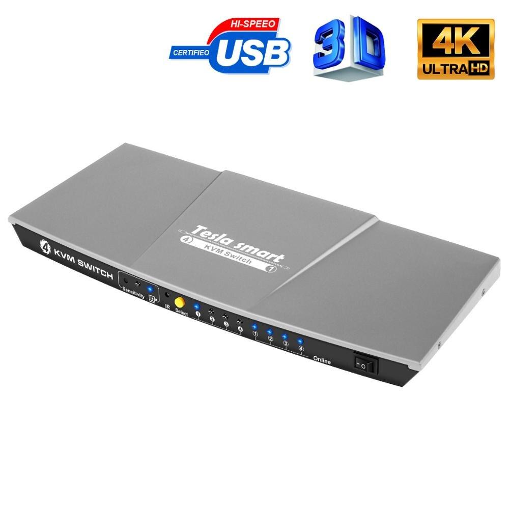 Tesla smart HDMI 4K @ 60Hz haute qualité HDMI KVM commutateur 4 ports USB KVM HDMI commutateur prise en charge 3840*2160/4K * 2K @ 60Hz Port supplémentaire USB2.0