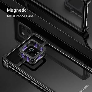 Image 2 - New Metal Frame Phone Case For huawei mate 20 30 mate 20 30 pro  Magnetic Attraction Bare Machine Feel Drop proof Phone Cover