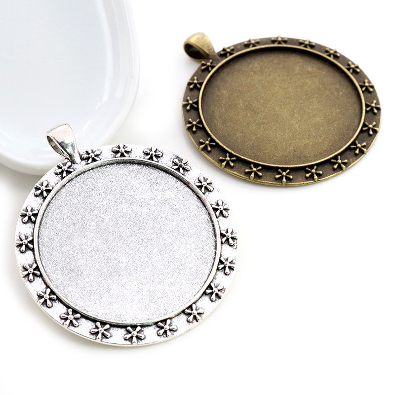 5pcs/lot 40mm Inner Size Antique Bronze And Silver Colors Plated New Fashion Flower Style Cabochon Base Setting Charms Pendant