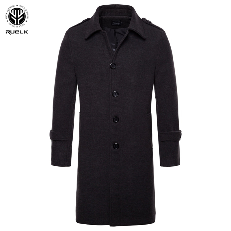 RUELK Autumn And Winter New Men's Classic Solid Color Coat Woolen Long European And American Single-Breasted Woolen Trench Coat