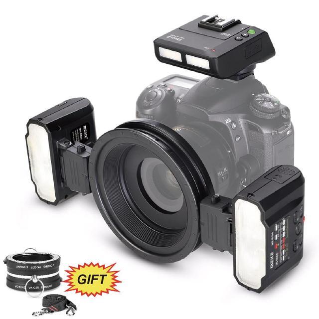 Meike MK MT24 Macro Twin Lite Blitzgerät für Nikon D3100 D3200 D3300 D3400 D5000 D5300 D5500 D7000 D7100 DSLR Kameras + GESCHENK
