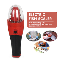 Rechargeable Electric Fish Scaler Handheld Kitchen Fish Cleaning Tool Waterproof With Protector Scraper Euro plug & UL plug CE цена и фото