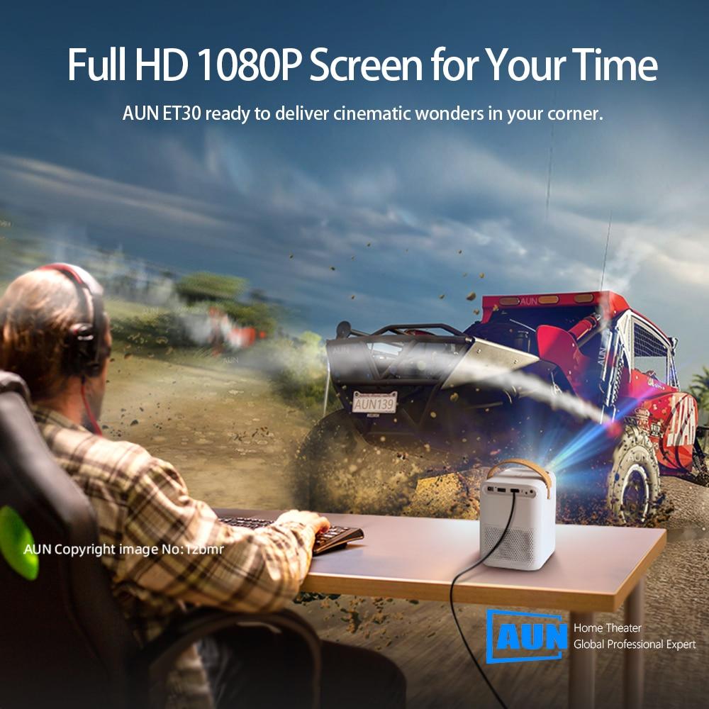 Aun completo hd projetor et30 opcional android 7800mah crianças portátil casa cinema mini led beamer 1920x1080p 4k vídeo via hdmi-1
