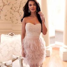 Pearls Feathers Backless Short Pink Prom Dresses 2020 Vestid