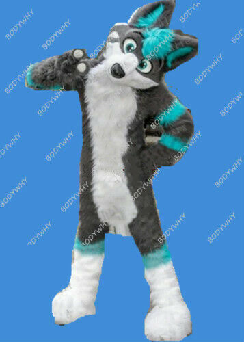 ┴Ultimate DealSuits Dress Costume Wolf Husky Mascot Gray Cosplay Parade Animal Party Halloween Wood╗