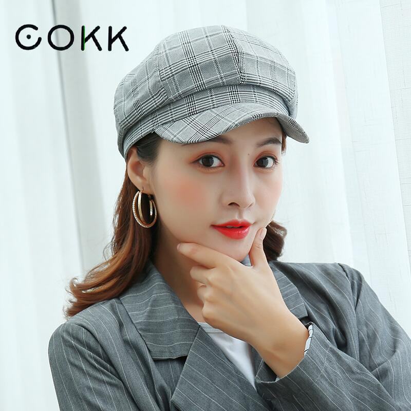 COKK Cotton Octagonal Hat Female Korean Fashion Plaid British Painter Cap