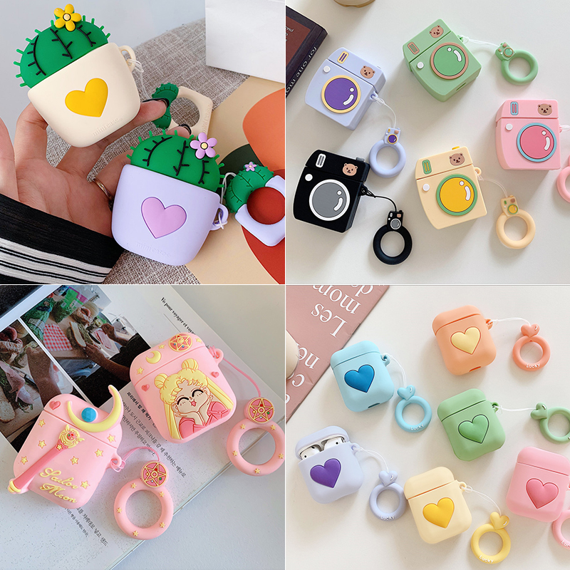 Cute Cartoon Earphone Case For Apple Airpods Silicone Soft Leather Cases For Airpod 1 2 Accessorie Charging Box Protective Cover