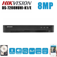 Hikvision 8CH 5 In 1 AHD DVR DS 7208HUHI K1/E Support CVBS TVI CVI AHD Analog IP Cameras P2P Cloud HDMI video recorder