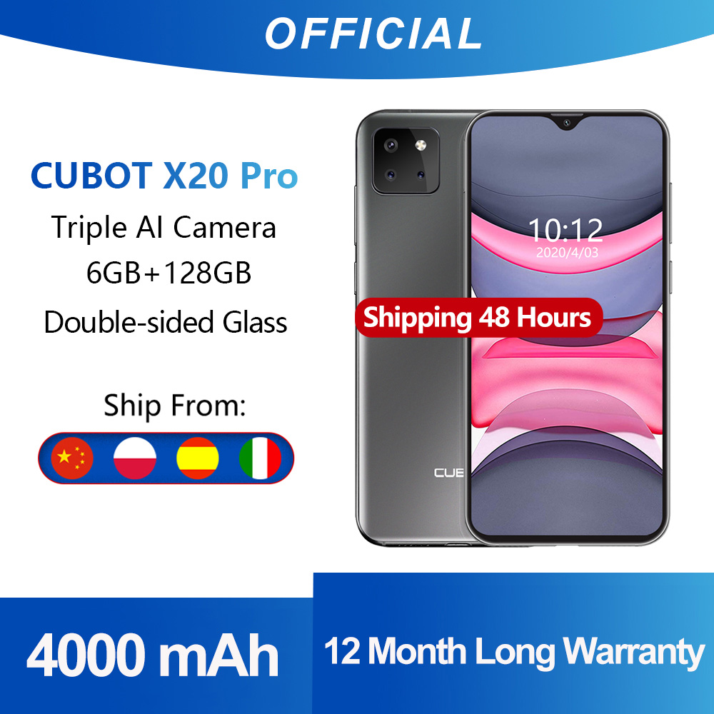 """Cubot X20 Pro 6GB + 128GB AI Tripla Fotocamere Smartphone 6.3 """"FHD + 2340 * 1080 Waterdrop Dello Schermo Android 9.0 Pie fotografica Viso ID Cellulare Helio P60 Batteria 4000mAh Face ID Octa Core  Dual SIM"""