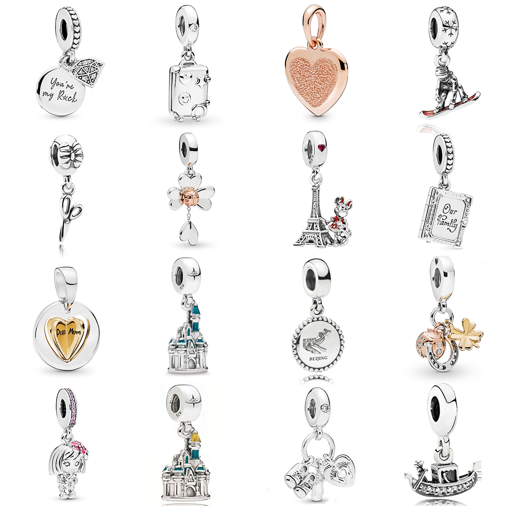 NEW 2019 100% 925 Sterling Silver Suitcase My Little Baby Family Book My Rock Pendant Fit DIY Original Women Bracelet Jewelry(China)