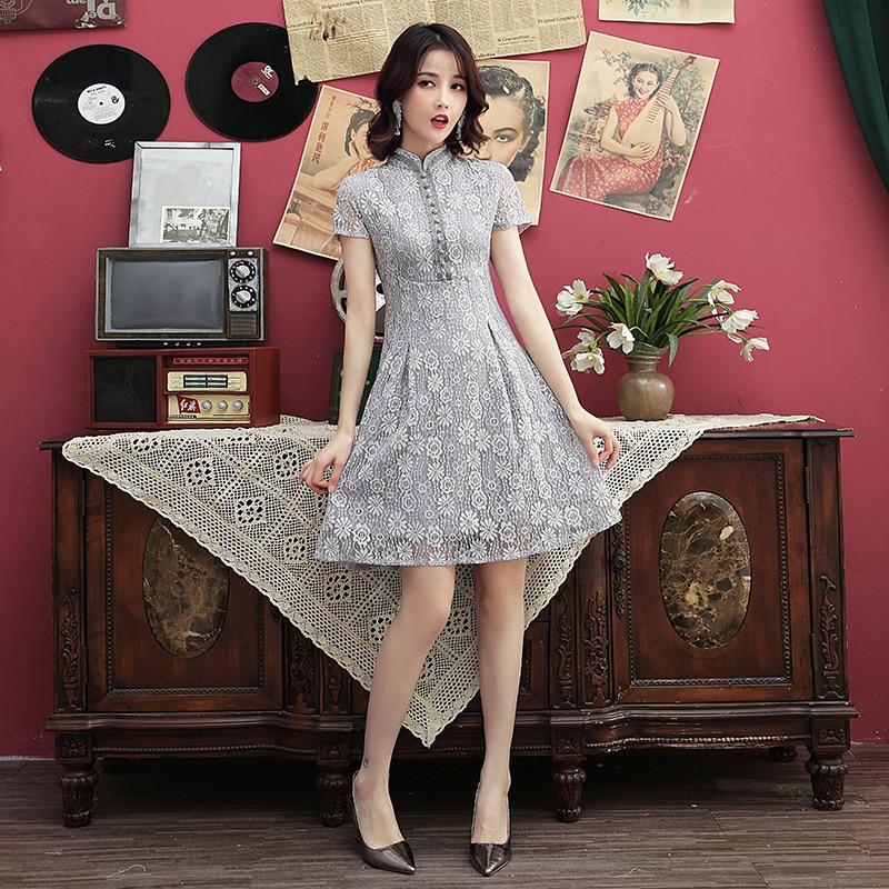 summer chinese women evening party dress  modern cheongsam short sleeve party gray lace qipao dress