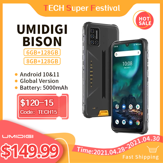 "Umidigi bison 6gb/8gb + 128gb nfc ip68/ip69k telefone áspero impermeável 48mp quad camera 6.3 ""fhd + display android 10 smartphones 1"