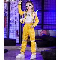 New Children'S Jazz Dance Costume Yellow Sequin Suit Girls Hip Hop Models Catwalk Trendy Handsome Hip Hop 110 170cm
