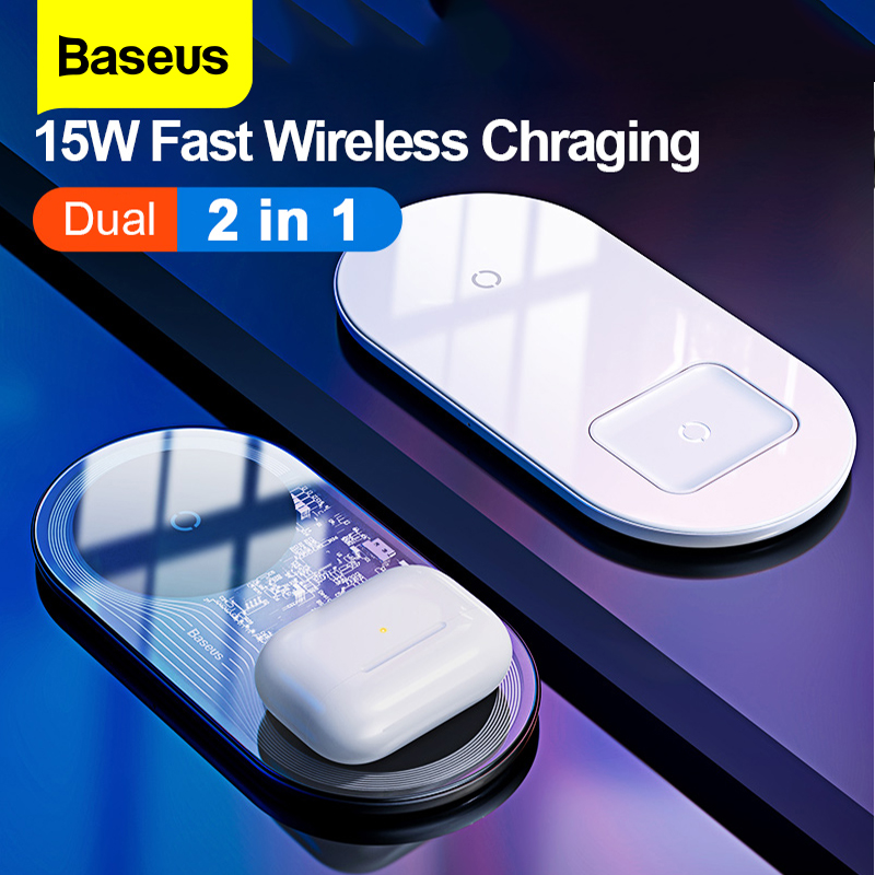 Baseus Qi Wireless Charger For Airpods iPhone 11 Pro Xiaomi mi 10 Dual 15W Fast Charging Pad For Samsung s20+ Induction Charger title=