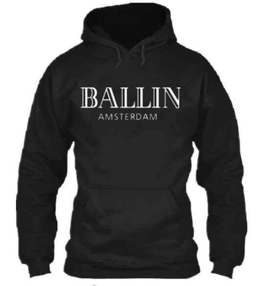 Kış moda erkek giyim hoodies Ballin Amsterdam grafik Unisex kazak erkekler uzun kollu hoodie serin pamuklu kazak