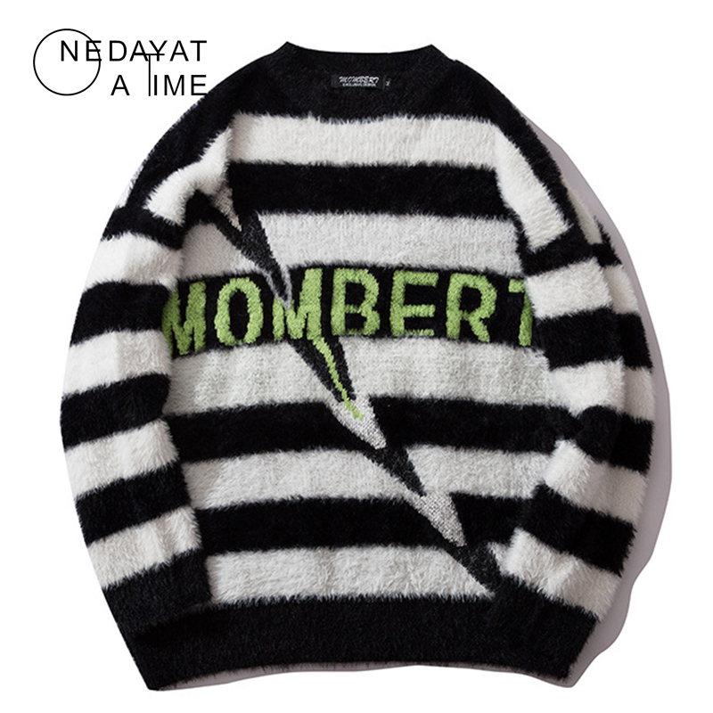 Harajuku Striped Knitted Pullover Sweaters Men Hip Hop Patchwork Streetwear 2019 Male Fashion O-Neck Sweater Casual Men Pullover