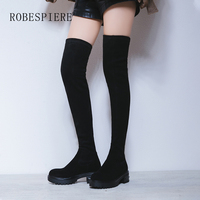 ROBESPIERE Black Women Over The Knee Boots Quality Genuine Leather Warm Winter Shoes Platform Low Heel Large Size Lady Boots B94