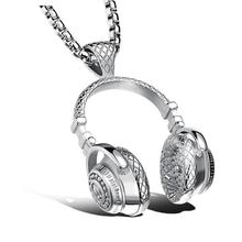 Fashion Music Headset Pendant Necklace Headphone Ornament Chain Male Titanium Steel Mens Accessory