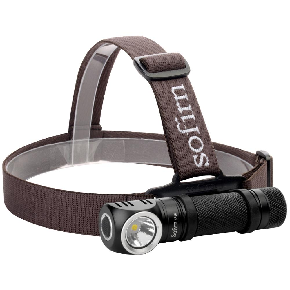 Sofirn SP40 XP-L 1200 Lumen Rechargeable Headlamp 18650 Flashlight Memory Function Power Indicator LED Torch