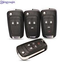 Jingyuqin Flip carcasa de llave a distancia de coche para Chevrolet Cruze Epica Lova Camaro Impala 2 3 4 5 botón HU100 hoja