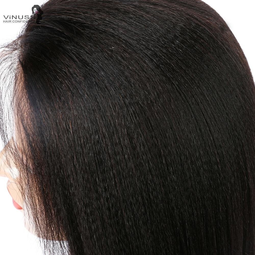 Faux cuir chevelu Yaki droite dentelle avant perruques de cheveux humains 13x6 sans colle 360 frontale dentelle perruque pré plumé brésilien Remy pour les femmes - 3