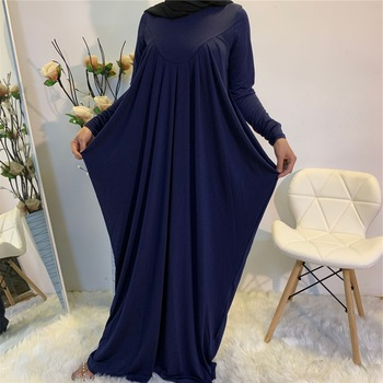 Eid Stretchy Pleated Baggy Long Maxi Dress Abaya Muslim Women Fashion Solid Color Long Sleeve