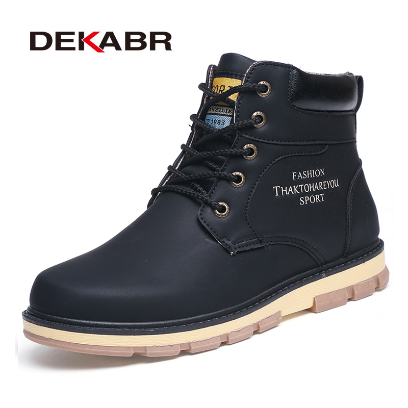 DEKABR 2020 Newest Autumn Winter Ankle Warm Boots Quality PU Leather Men Casual Working Shoes Vintage Style Lace Up Men Boots
