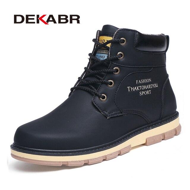 DEKABR/Новинка 2020 года; сезон осень зима; Теплые ботильоны; Качественная мужская повседневная рабочая обувь из искусственной кожи; мужские ботинки на шнуровке в винтажном стиле