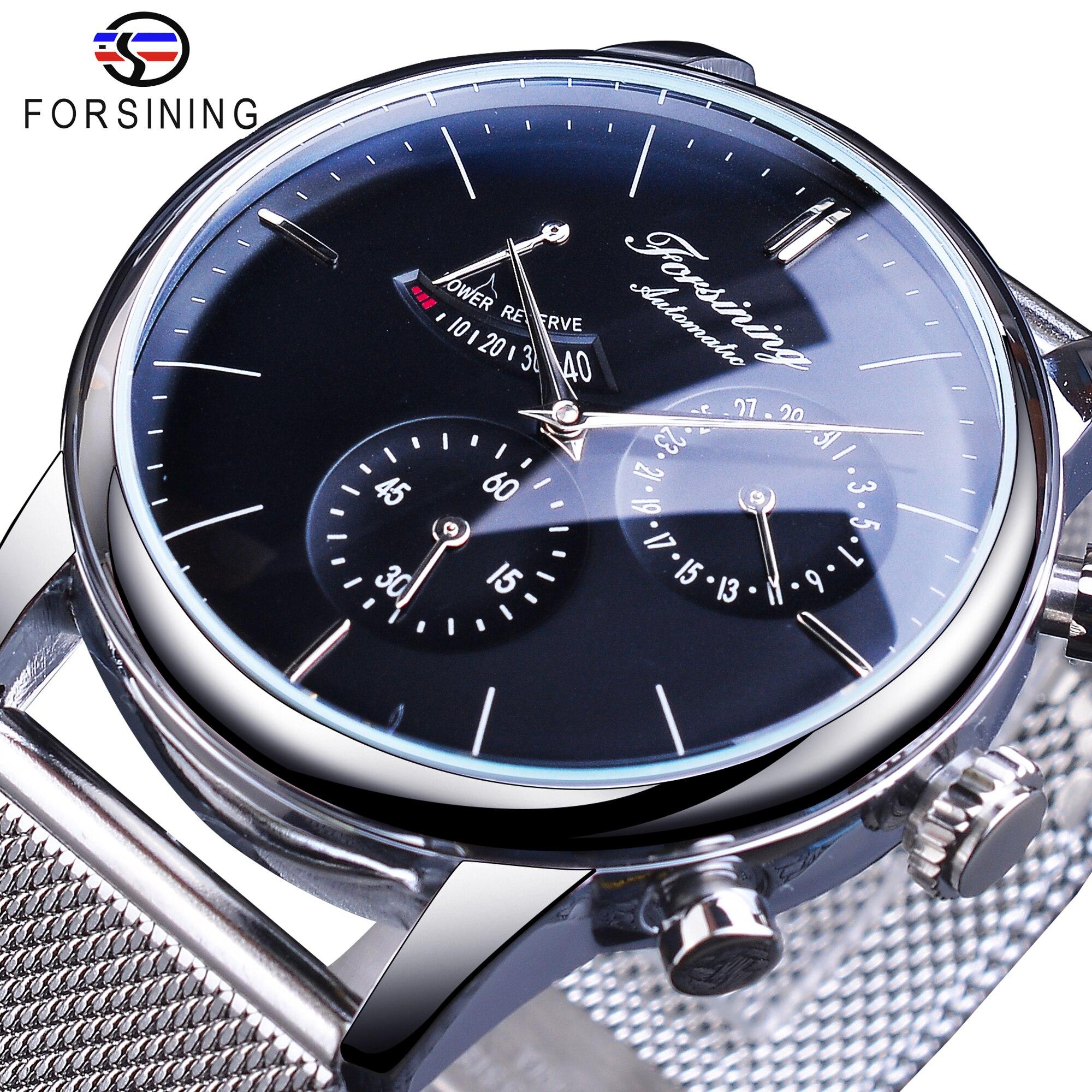 Forsining – montre bracelet en acier argenté pour homme, Design avec Date, avec réserve de puissance, mécanique et automatique, marque de luxe, 2021 | AliExpress