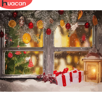 HUACAN Painting By Numbers Landscape Drawing On Canvas DIY Pictures By Number Christmas Hand Painted Painting Winter Home Decor