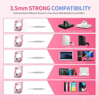 SOMIC G951s Pink Girl Cat Ear Gaming Headphone 3.5mm Plug Cute Headset for PC Xbox one PS4 Phone Pad Girl Kids Gaming Headset 5