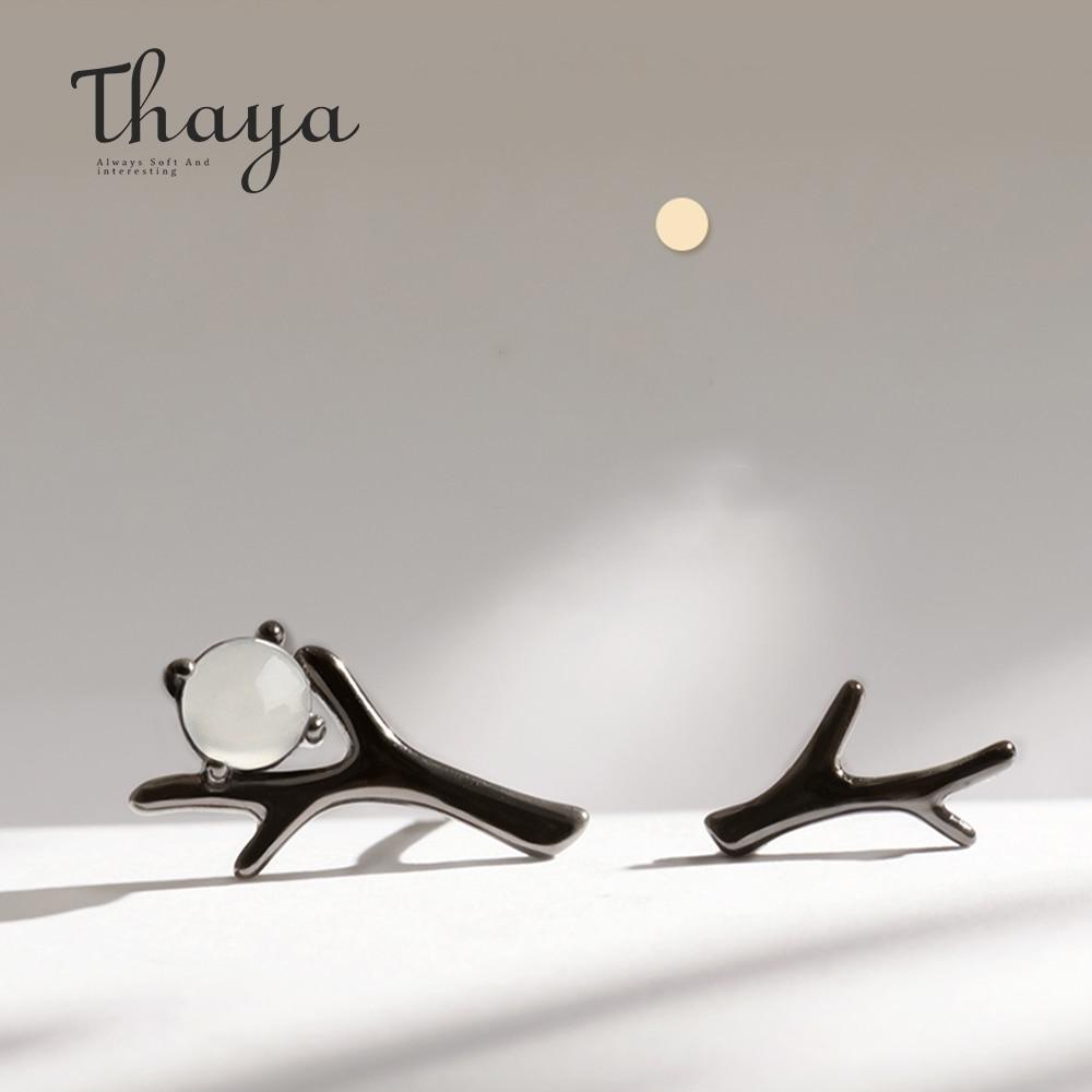 Thaya Moon Night Design Stud Earrings Moonstone Black S925 Sterling Silver Earrings For Women Punk Elegant Style Jewelry Gift