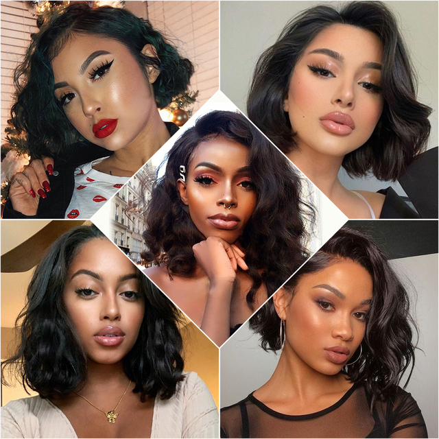 Ali Grace Hair Body Wave Bob Wig Lace Part Lace Front Human Hair Wigs Natural Color Pre Plucked Bob Lace Front Wigs for Women