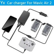 YX Auto Ladegerät Für DJI Mavic Air 2 Drone Batterie mit 2 Batterie Lade Ports Schnelle Lade Reise Und DJI FPV Auto Ladegerät