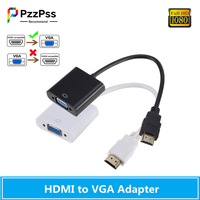 PzzPss 1080P Cable HDMI a VGA adaptador de Digital a analógico, transferencia de señal para PC portátil tableta HDMI macho a VGA hembra convertidor