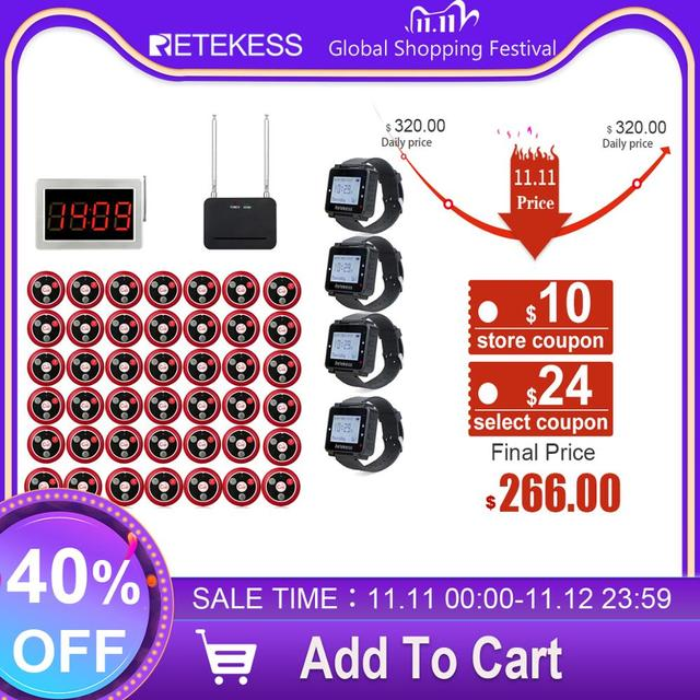Retekess Restaurant Pager Call Waiter Host+4 Watch Receiver+Signal Repeater+42 T117 Call Buttons for Bar Cafe Customer Call