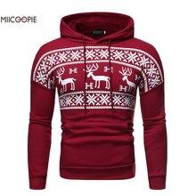 Miicoopie 2019 Mens Hoodie Christmas Moose Print Pullover Sweatshirt