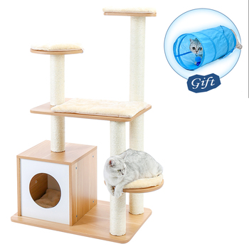 2020 New Multi-Level Wooden Cat Tree Modern Cat Furniture Cat Condo with House,Cat Scratching Post Indoor for Cats and Kittens