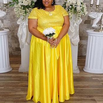 4XL 5XL Big Size African Style Dress Floor Length Yellow Pink 2020 Summer New Sequined High Waist Evening Party Wedding Clothes damaizhang yellow 4xl