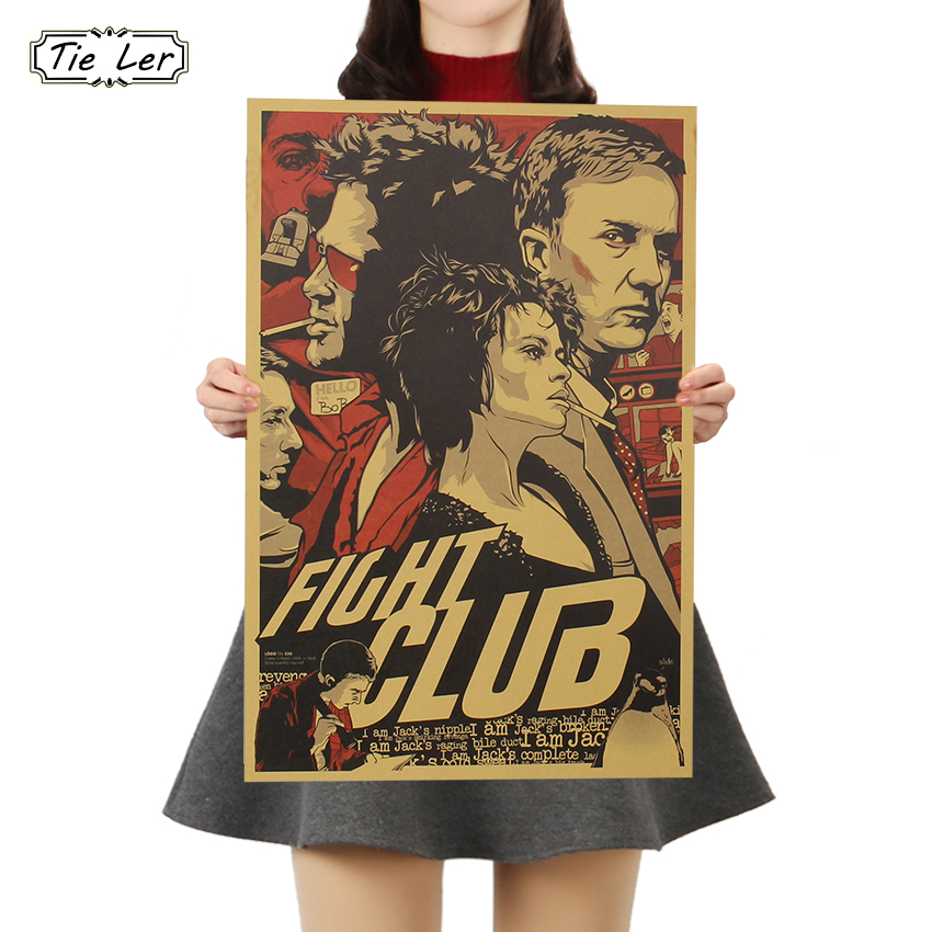 TIE LER Fight Club Kraft Paper Poster Movie Vintage Paper Poster Retro Art Wall Decoration Wall Sticker 51.5X35 CM