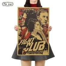 Corbata LER del Club de la pelea de póster de papel de la película vintage póster de papel Retro Decoración artística de pared etiqueta de la pared de 51.5X35 CM