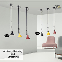 Swing Telescopic Long Rod Ceiling Lights Industrial Style Ceiling lamps LED Lighting for Bedside Dining Room Living Room Bar