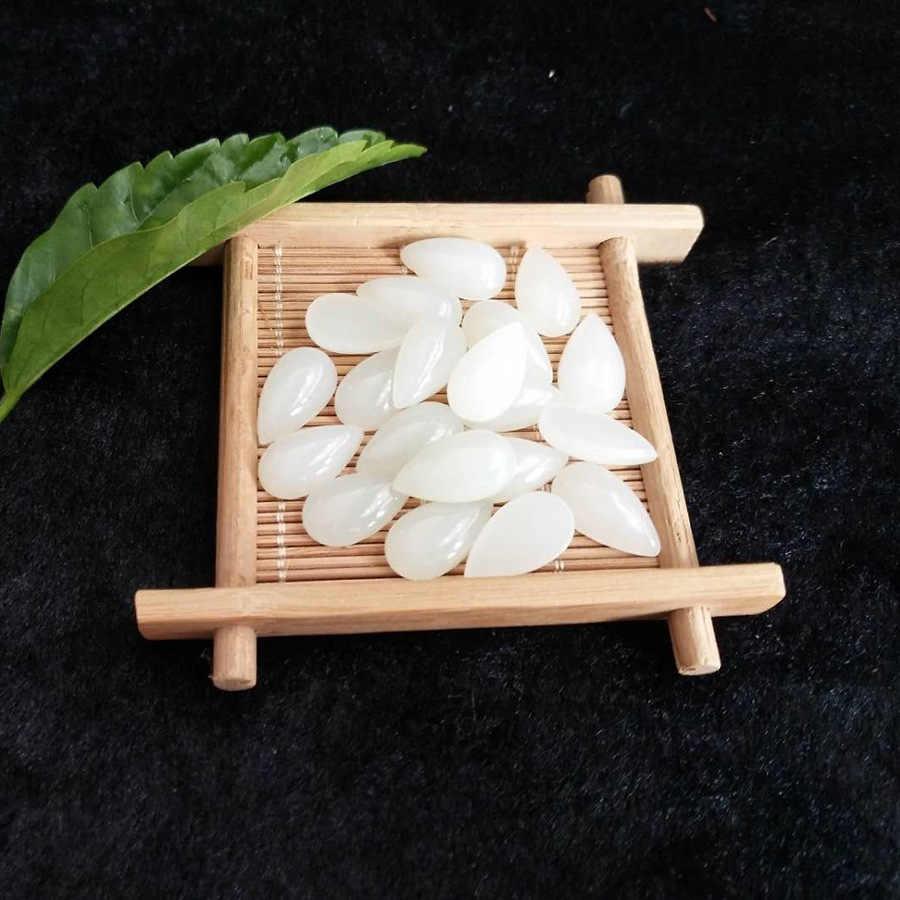Vinregem وصفت 1 قطعة جودة عالية 15*23 ملليمتر الطبيعية الكمثرى قطع الأبيض Hetian Jades فضفاض الأحجار الكريمة لتقوم بها بنفسك صنع المجوهرات بالجملة