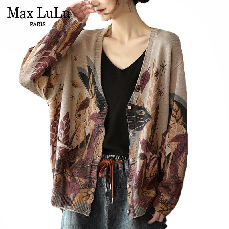 Max LuLu Spring Korean Fashion Streetwear Women Vintage Printed Loose Cardigans Ladies Casual Kintted Sweater Oversized Knitwear