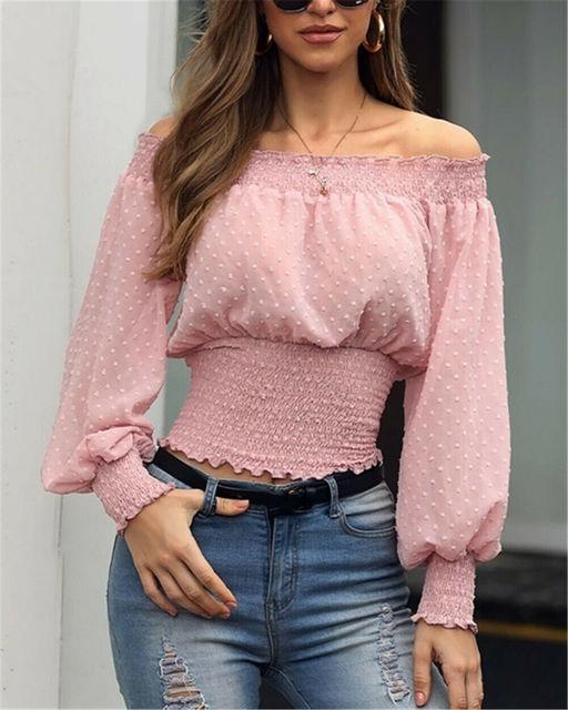 Hot Off Shoulder Autumn Chiffon Shirts Top Lady Women Long Sleeve Shirt Slim Casual Solid White Blouses